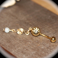 Gold Treble Clef and Pearl Belly Button Ring, Golden Crystal Belly Button Ring, 14 Gauge Gold Stainless Steel, Navel Jewelry Belly Ring