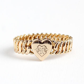 Vintage Gold Filled Initial Letter N Heart Expansion Bracelet - 1940s Stretch Sweetheart Pitman Keeler American Queen Monogrammed Jewelry