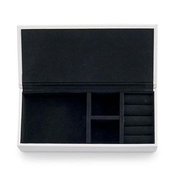 Vegan Leather Jewelry Box - White with Black (Pack of 1)