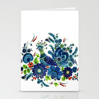BLUE PEACOCK Stationery Cards by C Ya Monday