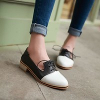Fashion Online Pointed Toe Lace Up Women Flat Shoes 2842