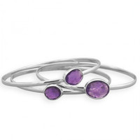 Set of 3 Sterling Silver Bangles with Genuine Amethyst