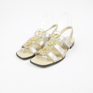 90s Metallic Gold Leather Sandals