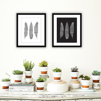 "Black and White Native Feather Printable Art - 8x10"" (2 set)"