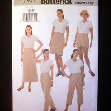 Women's A-Line Skirt, Loose Shorts & Pants Pattern, Misses' Sizes 8, 10, 12 Butterick 3397 Fast and Easy Sewing Pattern