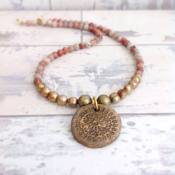 Mandala pendant, yoga necklace, mandala jewelry, boho necklace, stone necklace, gemstone necklace, coin necklace
