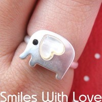 Adjustable Elephant Animal Ring in Silver with Heart Shaped Ears