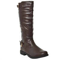 Womens Mid Calf Boots Casual Riding Western Double Adjustable Gold Buckles DKBROWN