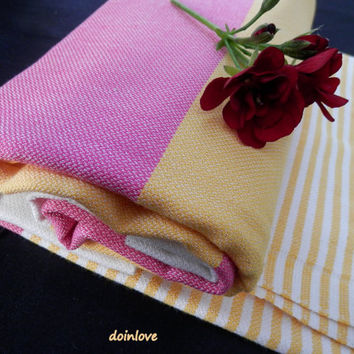 Turkish peshtemal pink, yellow and white striped beach wrap towel, bath wrap towel, pareo.