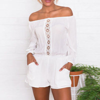 Off-Shoulder Long Sleeve Lace Accent Rompers