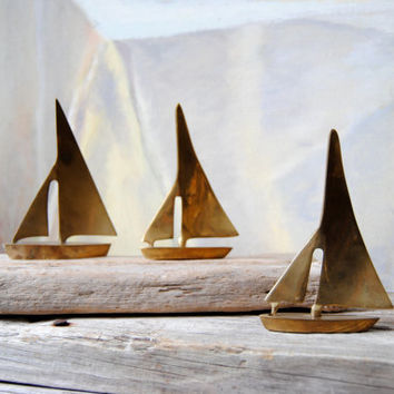 Sailboat Trio Vintage Solid Brass: Set of 3 Brass Sail Boats, Beach Cottage Home Decor, Paperweight for Home or Office