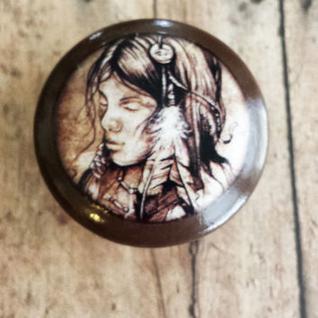 Handmade Native American Girl Birch Knobs Drawer Pulls, Mystical Cabinet Pull Handles, Feather Headdress, Dresser Knobs, Made To Order