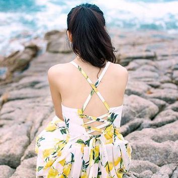 Lemon print dress sexy strapless waist backless jumpsuit dress pleated skirt holiday cute back cross bind dress