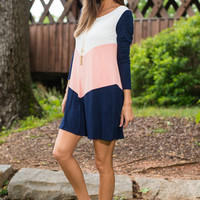 Take A Dip Top, Navy-Peach