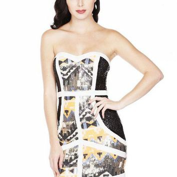 """Talk of the Town"" tribal sequined bodycon dress"