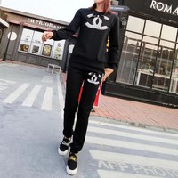 """Chanel"" Women Casual Fashion Bow Pearl Letter Logo Long Sleeve Sweater Trousers Set Two-Piece Sportswear"