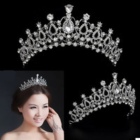 Deluxe Rhinestone Crystal Tiara Crown Hair Jewelry Wedding Bridal Pageant Prom = 1931970756