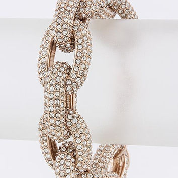 The Princess Kate Chunky Crystal Encrusted Chain Bracelet - Rose Gold