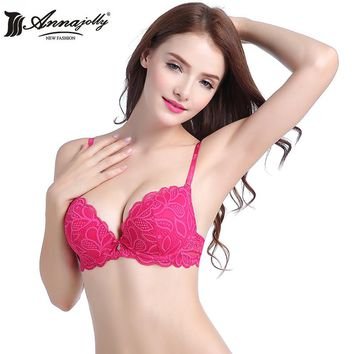 Annajolly Women Bras Push Up Sexy Top Lace Adjustable Bra White Rose Embroidery Underwear Lingerie Fashion Free Shipping U8593