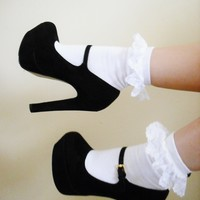 White Frilly Socks