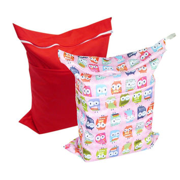 Alva Baby 2pcs Pack Wet and Dry Cloth Diaper Bags L0226 red and pink owls