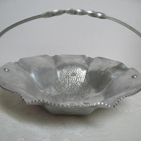 Hammered Aluminum Bowl Hand Wrought Aluminum Trade Continental Mark 868 Vintage Decorative Bowl