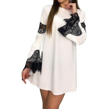 Lace Patchwork Mini Party Dresses Women Sexy Hollow Out Flare Sleeve Dress Female Summer A-Line Loose Plus Size GV533