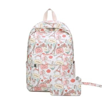 Student Backpack Children New small fresh Canvas Shoulder Bag student bag, female cute cartoon leisure tower printing Junior High School Student Backpack AT_49_3