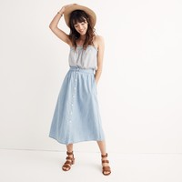 Palisade Button-Front Midi Skirt in Indigo