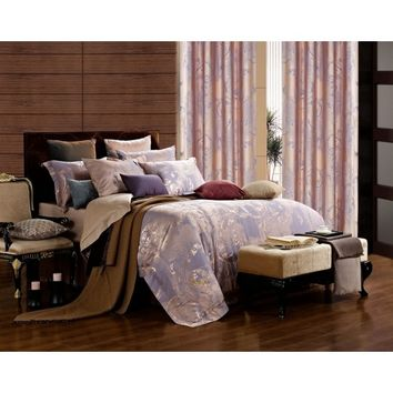 Dolce Mela DM475Q Jacquard Damask Luxury Bedding Queen Duvet Cover Set - Gifts for You and Me
