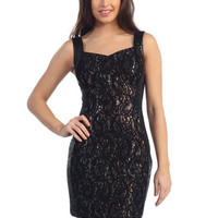 Little Black Dresses, Lace over Sequin, Holiday Party Dress from Sung Boutique Los Angeles, Category New Arrivals