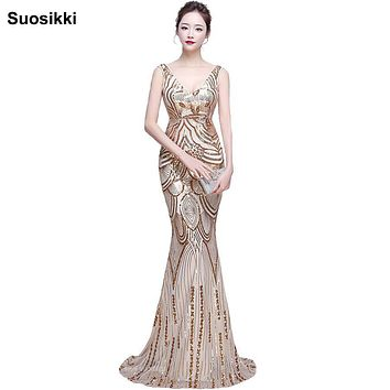 vestido de noiva Spaghetti strap Sequin Court Mermaid Long prom Dress Gold black v-neck sexy formal evening party dresses