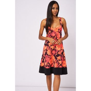 Neon Pink Skater Scuba Dress With Floral Pattern
