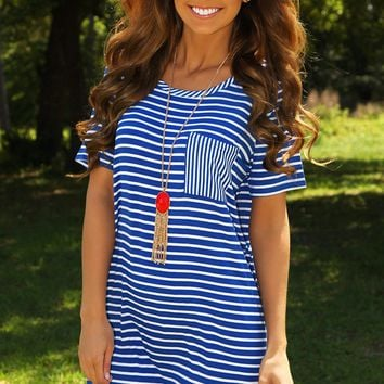 Spring Me To Life Dress: Blue/White - What's New - Hope's Boutique