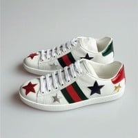 Gucci Ace Snake Embroidered White Low-top Sneaker-1