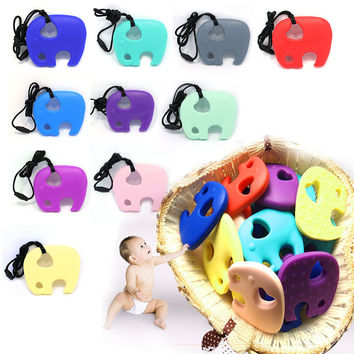 Baby Elephant Pacifier Teething Toy Chewable Pendant Soother Teether Non-Toxic