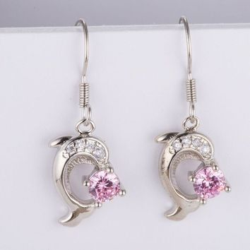 Pink Crystal Dangle Earring