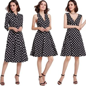 Ever Pretty Homecoming Dresses 2018 Cheap A-line Polka Dot Cocktail Party Gowns Vintage Knee-Length Short Girls Graduation Dress