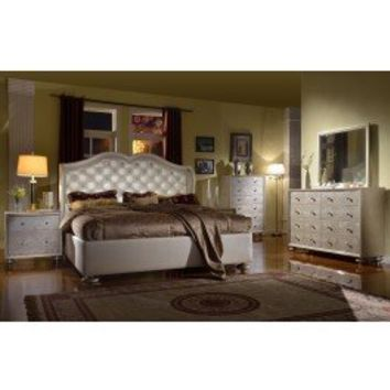 Denona Crystal Tufted Leather Bed - Furniture Stores Las Vegas