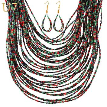 U7 African Wedding Coral Beads Jewelry Set For Women Fashion 5 Color 2016 Nigerian Beads African Costume Jewelry Set S800