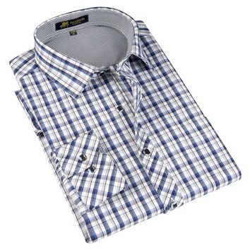 Spring Classic style Plaid shirt  for male  silk and cotton fabric long sleeve slim fit non-iron causal men's shirts