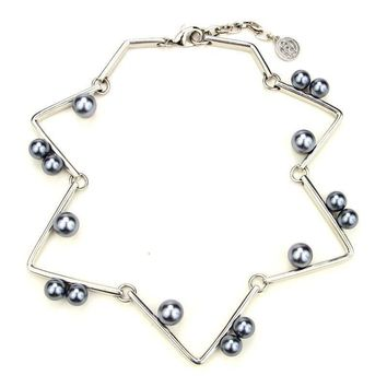 Ben-Amun - Sculptural Geometric Necklace with Pearls