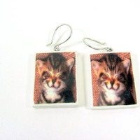 Cat Earrings Polymer Clay Photo Earrings by PhotoPerfectJewelry