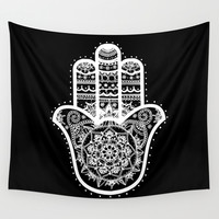 Black & White Hamsa Hand Wall Tapestry by Laurel Mae