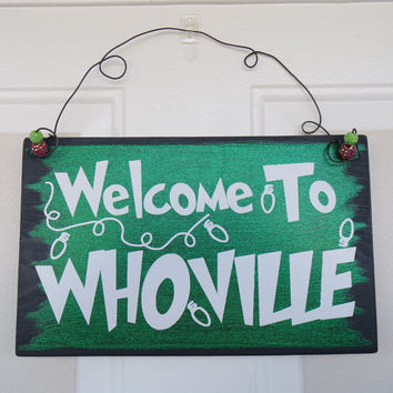 Welcome To Whoville Hanging Door Sign, The Grinch Hanging Door Sign, The Grinch Christmas Decoration Sign, The Grinch Sign, Christmas Sign