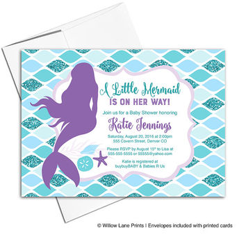 Mermaid baby shower invites girl | printable invitations | purple teal blue glitter | DIY or printed - WLP00706