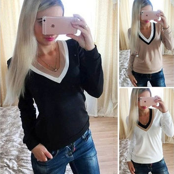 Women Fashion V-Neck Long Sleeves T-Shirt Casual Simplicity Slim Basic Tee [9145126214]