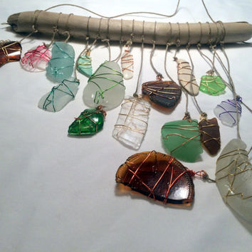 Sea Glass Sun Catcher Glass Window Art Eco Friendly Driftwood Mobile Whimsical Art Beach Decor Lake Erie Beach Glass