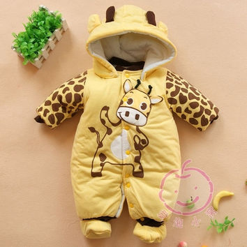 Baby Boys And Girls Jumpsuit Animal Giraffe Print Romper Cotton-padded Clothes = 1930072068