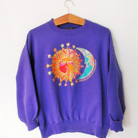 Vintage 1990s Laurel Burch Sister Sun Brother Moon Sweatshirt